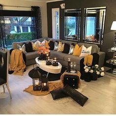 Grey and Yellow Living Room Decor . Grey and Yellow Living Room Decor . Yellow and Gray Rooms Living Room Table Sets, Glam Living Room, Living Room Decor Cozy, Living Room Photos, Elegant Living Room, Living Room Colors, Living Room Paint, Living Spaces, Small Living