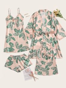 Check out this Tropical Print Satin Pajama Set With Robe on Shein and explore more to meet your fashion needs! Satin Pyjama Set, Satin Pajamas, Cotton Pyjamas, Cute Pajama Sets, Cute Pajamas, Cute Sleepwear, Sleepwear Women, Lingerie Outfits, Women Lingerie