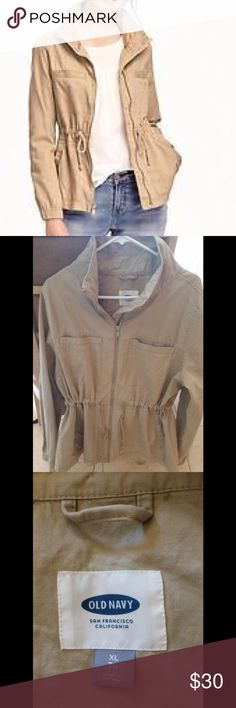 NWOT Old Navy Golden Compass Field Jacket. Size XL Brand new jacket, never wore. I ordered online, tried it on and never have used it. It is very comfortable as the waist can adjust from a more relaxed fit to a more fitted fit. Would look super cute with jeans and a great pair of boots. Fits true to size XL. Has an extra button bag attached. Color is called Golden Compass, comparable to a medium khaki. Old Navy Jackets & Coats Utility Jackets