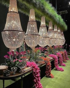 How's that for a dessert table! / A statement dessert table your guests will be sure to remember with fresh florals and low hanging chandeliers. Wedding Stage, Wedding Photos, Wedding Dress, Floral Centerpieces, Flower Arrangements, Centrepieces, Luxury Wedding, Dream Wedding, Lebanese Wedding