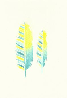 Acid Yellow, Lime & Turquoise Feather Watercolour Painting - Original Art - Unique Home Decor on Etsy