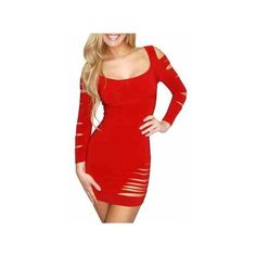 Sexy Slashed Ripped Clubwear Mini Dress Party Evening Wear Clubbing ($19) ❤ liked on Polyvore featuring dresses, sexy dresses, sexy party dresses, short red cocktail dress, short dresses and sexy short dresses