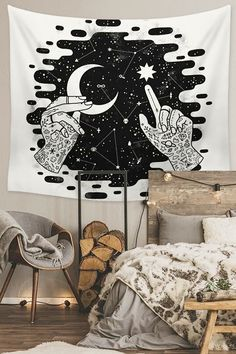 To find out about the Moon & Star Print Tapestry at SHEIN, part of our latestTapestry ready to shop online New Arrivals Dropped Daily. Moon Tapestry, Tapestry Bedroom, Tapestry Ceiling, Space Tapestry, My New Room, My Room, Dorm Room, Teen Room Decor, Bedroom Decor