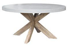 Ronde witte houten #tuintafel van robuust hout. Ook leuk voor binnen!