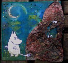 Moomin Dark Forest, Post Card, Atc, Textile Art, Finland, Fiber Art, Coloring Books, Card Ideas, Eye Candy