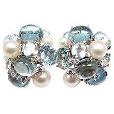 SEAMAN SCHEPPS Bubble Aquamarine & Pearl White Gold Earrings