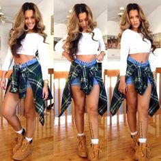 Swag Outfit Crop Top Plaid Shirt Tie Around Waist Green Timberlands Urban Fashion Dope