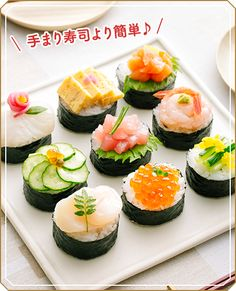 Sushi Recipes, Asian Recipes, Cooking Sushi, Cute Food, Yummy Food, Sushi Cake, Taiwanese Cuisine, Taiwan Food, Food Decoration