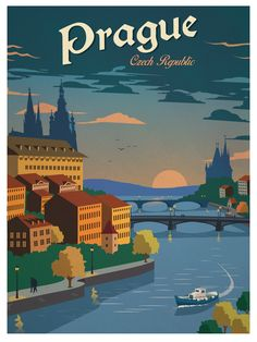 Vintage Travel Vintage Prague Poster - Size - Digital Print on 80 lb cover matte white *SHIPPING DETAILS* Items will be mailed out in tubes within 3 days after order. Old Poster, Poster Art, Kunst Poster, Art Deco Posters, Retro Posters, Poster Prints, Pin Ups Vintage, Photo Vintage, Vintage Travel Posters