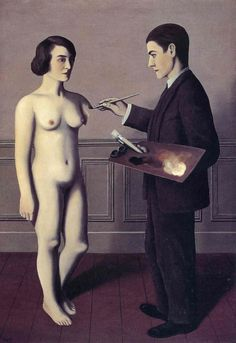 Magritte. Man painting woman.