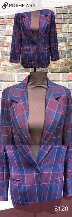 [Biagio] Red Blue Plaid Pure Wool Career Blazer Lightly Used | Excellent Condition | Small Holes On Left Sleeve | Red, Blue, & White Plaid Design | 1 Button Closure | Collared | Shoulder Pads | Lined | 2 Faux Pockets On Front | Length: 16.5ins | Bust: 37ins | Sleeve Length: 22.5ins | 100% Pure Wool | Biagio Jackets & Coats Blazers