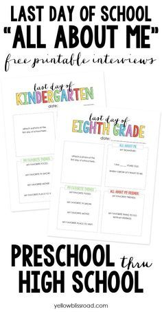 last day of school all about me - Free Printable Pictures