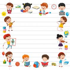 Vector illustration of cartoon students Premium Vector Kids Art Class, Art For Kids, Arabic Alphabet Chart, Teachers Day Poster, Bulletin Board Design, Kindergarten Portfolio, School Frame, Kids Background, Background Powerpoint