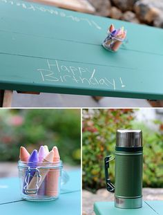 """Bring our chalk table. It'd be like """"carving"""" your name into the bench at camp :)"""