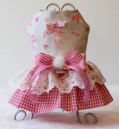 Easter Bunny with pink gingham skirt dress would be Pawfect Spring time outing! All sizes available up to 18 girth and custom made! Please note your pup size in the check out! Pawsome and Pawbulous Day for your Dog with Unique and Elegant Custom Dog Harness! Perfect for small to medium #dogharness