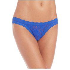 Hanky Panky Signature Lace Brazilian Bikini ($30) ❤ liked on Polyvore featuring intimates, panties, blue sapphire, briefs, lacy bikini, sexy bikini, brazilian style bikini, lace bikini and brazilian bottom bikini