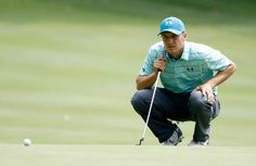 Jordan Spieth lines up a putt on the sixth green during the second round of the World Golf Championships - Bridgestone Invitational at Firestone Country Club South Course on August 4, 2017 in Akron, Ohio.