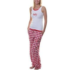 Detroit Red Wings Ladies Paramount Tank Top & Pants Set - White/Red