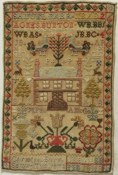 19th Century House Sampler by Christina Barr 1872 | eBay (sold for $430; 8/30/14)