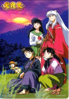 Inuyasha, Kagome Higurashi, Miroku, Sango, Shippo, and their two-tailed cat demon companion, Kilala (also called Kirara)