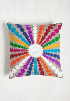 Ray of Bright Pillow. Just as this embroidered pillow by Karma Living enlivens your abode, its pop of colors and cool cotton invigorate your senses, as well! #multi #modcloth