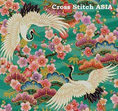 Blooming Sakuras and White Cranes Cross Stitch by CrossStitchAsia