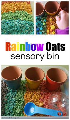 Rainbow Oats sensory play idea for toddlers and preschoolers. Baby Sensory Play, Sensory Activities Toddlers, Sensory Bins, Craft Activities For Kids, Toddler Preschool, Preschool Ideas, Preschool Colors, Sensory Bottles, Kids Playing