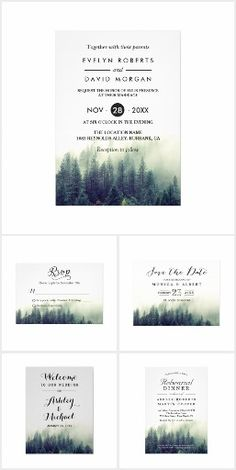 Invitation Suite: Winter Pine Tree Forest Theme. Features a mystic pine tree forest silhouette with a white card #Ad