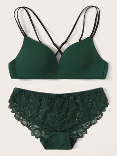 To find out about the Floral Lace Crisscross Back Lingerie Set at SHEIN, part of our latest Bra & Panty Sets ready to shop online today! Green Lingerie, Lingerie Set, Lingerie Styles, Latest Bra, Bra And Panty Sets, Sexy Bra, Dress Backs, Floral Lace, Underwear