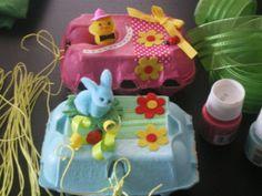 boîtes d'oeufs décorées pour Pâques