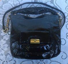 Coach Women's Black Patent Leather Handcrafted Handbag Purse #Coach #Handbag