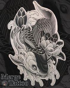 Japanese Snake Tattoo, Japanese Dragon Tattoos, Japanese Tattoo Designs, Japanese Sleeve Tattoos, Pez Koi Tattoo, Carp Tattoo, Hannya Tattoo, Asian Tattoos, Leg Tattoos