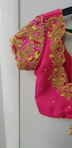 Embroidery Blouse Designs Pink Ideas Source by Blouses Cutwork Blouse Designs, Saree Kuchu Designs, Wedding Saree Blouse Designs, Pattu Saree Blouse Designs, Best Blouse Designs, Simple Blouse Designs, Stylish Blouse Design, Lehenga Blouse, Maggam Works
