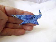 Origami Shark pin, paper blue brooch bag