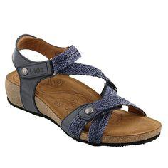 b0563bc64f1 Taos Footwear Trulie Leather Wedge Sandal - Blue