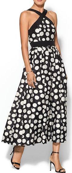 fun black and white polka dot dress.. cross neck line!!