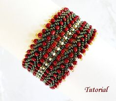 PDF for Manon beadwoven bracelet beading pattern tutorial - beadweaving beaded seed bead jewelry - st petersburg stitch
