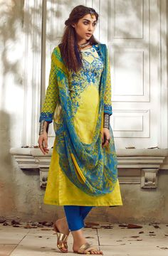 Yellow & Blue Un-stitched Cotton Digital Printed Salwar Suit with Georgette Dupatta - SUM08