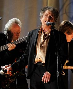 live on stage at the Grammy Awards February 2011. Dylan joined current folk darling Mumford and Sons and The Avett Brothers on stage and added a grizzled vocal to his classic 'Maggies Farm'