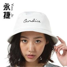 Korean Pure Color Embroidery Letters Black And White Flat Roofed Basin Hat The Fisherman Hat Summer Lady