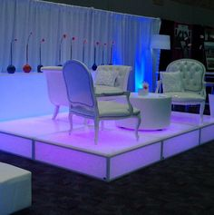 LED floor panels / stage with Alexandria chairs and Chaise, and Gatsby LED table.