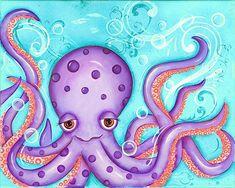Octopus Art Print Childrens Wall Art Nautical by WallFlowerArtShop Childrens Wall Art, Art Wall Kids, Art For Kids, Nautical Nursery, Nursery Art, Paisley Nursery, Nursery Design, Nursery Ideas, Kraken Octopus