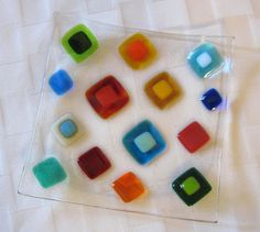 Fused Glass Plate Bright Colorful Diamonds by Shakufdesign on Etsy