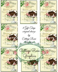 French Cake Bakery Paris French Gift tags by CottageRoseGraphics