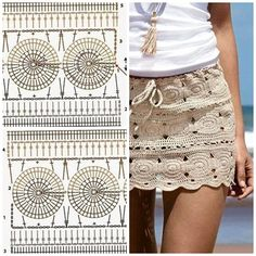 Discover thousands of images about crochet pareo, camel's hair color cover up, crochet pareo, Beginner Knitting Patterns, Crochet Stitches Patterns, Lace Patterns, Crochet Designs, Crochet Diagram, Crochet Motif, Crochet Lace, Crochet Skirts, Crochet Clothes