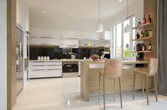 Modern Minimalist Interior for Your Family: Large Open Kitchen Designed With Wooden Furniture ~ urbanbedougirl.com Interior Design Inspiration
