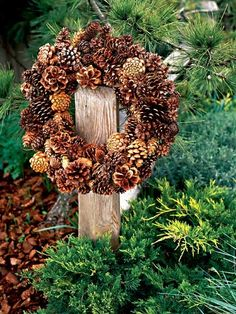 outdoor wreath made of pinecones