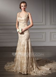 Trumpet/Mermaid V-neck Chapel Train Satin Lace Wedding Dress With Beading (002000116)