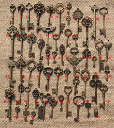 53 Old Look Vintage Assorted Skeleton Keys Bronze by happylife2014
