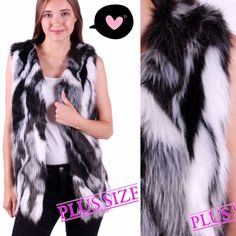"""HP 10/16FAUX FUR VEST! Cute black and white faux fur vest for the fall & winter season! Acrylic & polyester. PLEASE DO NOT BUY THIS LISTING! I will personalize one for you.♦️1X: bust about 42-44""""♦️2X: about 44-46"""" tla2 Jackets & Coats Vests"""